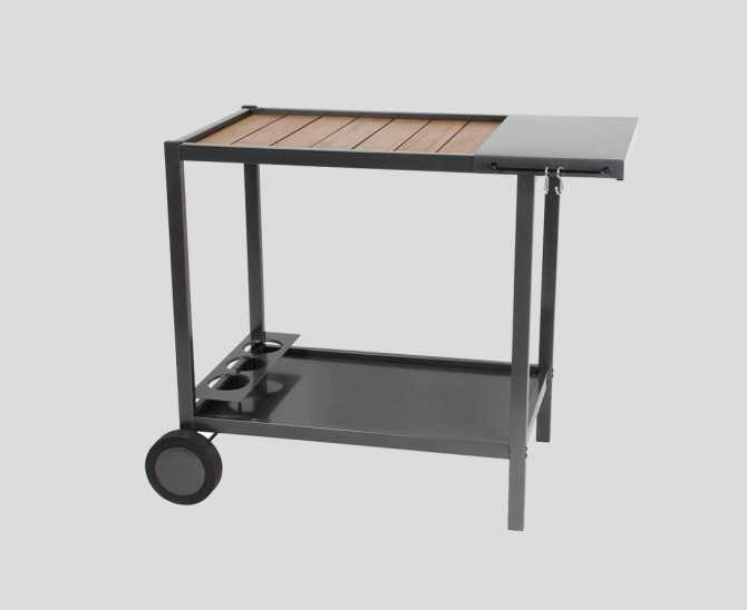 Plancha trolley made of metal and wood