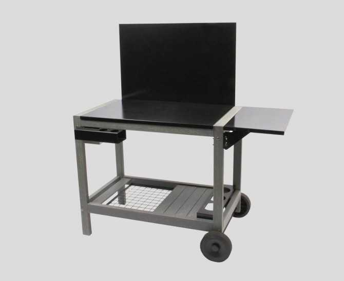 Plancha trolley made of wood with tray and back panel