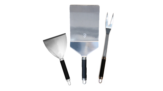 Set grill utensils, stainless steel